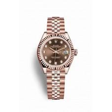 Réplica Rolex Datejust 28 Everose oro 279175 Chocolate Diamantes Dial Reloj