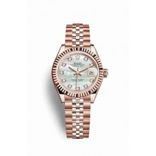Réplica Rolex Datejust 28 Everose oro 279175 Blanco mother-of-pearl Diamantes Dial Reloj
