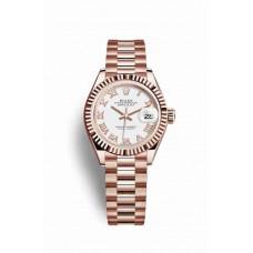 Réplica Rolex Datejust 28 Everose oro 279175 Blanco Dial Reloj