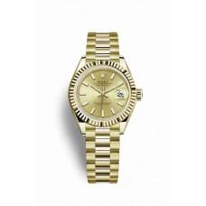Réplica Rolex Datejust 28 oro amarillo 279178 Champagne-colour Dial Reloj