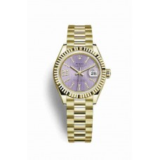 Réplica Rolex Datejust 28 oro amarillo 279178 Lilac Diamantes Dial Reloj