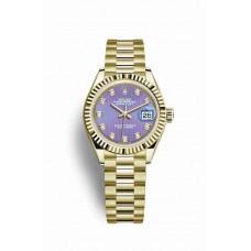 Réplica Rolex Datejust 28 oro amarillo 279178 Lavender Diamantes Dial Reloj