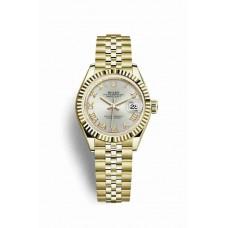 Réplica Rolex Datejust 28 oro amarillo 279178 plata Dial Reloj