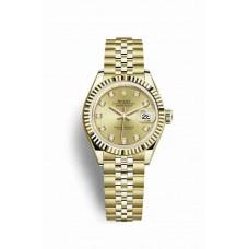 Réplica Rolex Datejust 28 oro amarillo 279178 Champagne-colour Diamantes Dial Reloj