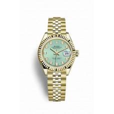 Réplica Rolex Datejust 28 oro amarillo 279178 Mint verde Diamantes Dial Reloj