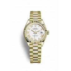Réplica Rolex Datejust 28 oro amarillo 279178 Blanco Dial Reloj