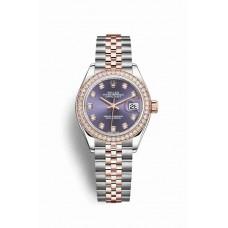 Réplica Rolex Datejust 28 Everose Rolesor OysterAcero Everose oro 279381RBR Aubergine Diamantes Dial Reloj