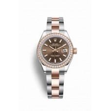 Réplica Rolex Datejust 28 Everose Rolesor OysterAcero Everose oro 279381RBR Chocolate Dial Reloj