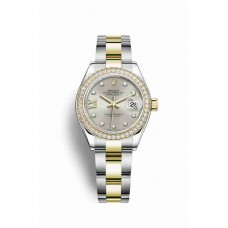 Réplica Rolex Datejust 28 Rolesor Oyster Acero oro amarillo 279383RBR plata Diamantes Dial Reloj