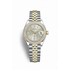 Réplica Rolex Datejust 28 Rolesor Oyster Acero oro amarillo 279383RBR plata Dial Reloj