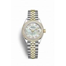 Réplica Rolex Datejust 28 Rolesor Oyster Acero oro amarillo 279383RBR Blanco mother-of-pearl Diamantes Dial Reloj