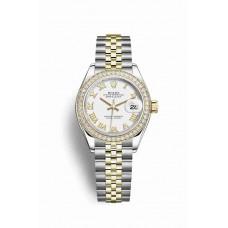 Réplica Rolex Datejust 28 Rolesor Oyster Acero oro amarillo 279383RBR Blanco Dial Reloj