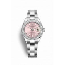 Réplica Rolex Datejust 28 Blanco Rolesor OysterAcero Oro blanco 279384RBR Rosado Dial Reloj