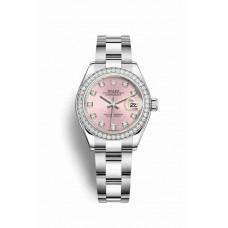 Réplica Rolex Datejust 28 Blanco Rolesor OysterAcero Oro blanco 279384RBR Rosado Diamantes Dial Reloj
