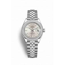 Réplica Rolex Datejust 28 Blanco Rolesor OysterAcero Oro blanco 279384RBR plata Dial Reloj