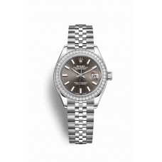Réplica Rolex Datejust 28 Blanco Rolesor OysterAcero Oro blanco 279384RBR Gris Oscuro Dial Reloj