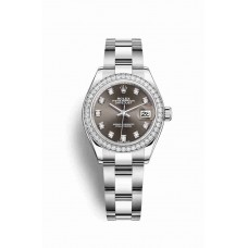 Réplica Rolex Datejust 28 Blanco Rolesor OysterAcero Oro blanco 279384RBR Gris Oscuro Diamantes Dial Reloj