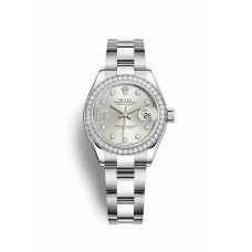 Réplica Rolex Datejust 28 Blanco Rolesor OysterAcero Oro blanco 279384RBR plata Diamantes Dial Reloj