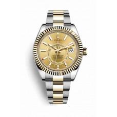 Réplica Rolex Sky-Dweller Rolesor Oyster Acero oro amarillo 326933 Champagne-colour Dial Reloj