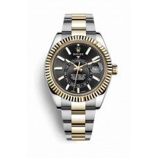 Réplica Rolex Sky-Dweller Rolesor Oyster Acero oro amarillo 326933 Negro Dial Reloj