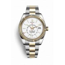 Réplica Rolex Sky-Dweller Rolesor Oyster Acero oro amarillo 326933 Blanco Dial Reloj