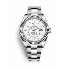 Réplica Rolex Sky-Dweller Blanco Rolesor OysterSteel Oro blanco 326934 Blanco Dial Reloj