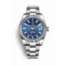 Réplica Rolex Sky-Dweller Blanco Rolesor OysterAcero Oro blanco 326934 Azul Dial Reloj
