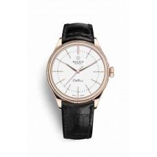 Réplica Rolex Cellini Time Everose oro 50505 Blanco Dial Reloj