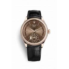 Réplica Rolex Cellini Dual Time Everose oro 50525 marron guilloche Dial Reloj