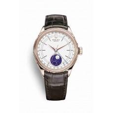 Réplica Rolex Cellini Moonphase Everose oro 50535 Blanco Dial Reloj