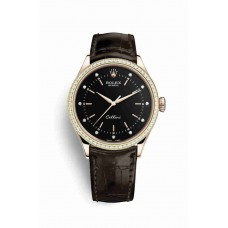 Réplica Rolex Cellini Time 18ct Everose oro 50705RBR Negro Diamantes