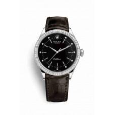 Réplica Rolex Cellini Time Oro blanco 50709RBR Negro Diamantes Dial Reloj