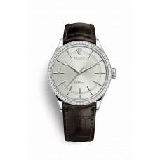 Réplica Rolex Cellini Time 18ct Oro blanco 50709RBR Rhodium Dial Reloj