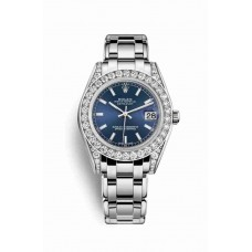 Réplica Rolex Pearlmaster 34 Oro blanco lugs Diamantes 81159 Azul Dial Reloj