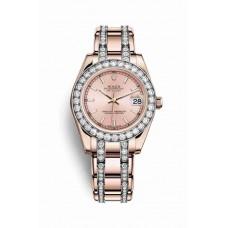 Réplica Rolex Pearlmaster 34 Everose oro 81285 Rosado Dial Reloj