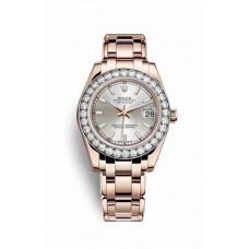 Réplica Rolex Pearlmaster 34 Everose oro 81285 plata Dial Reloj