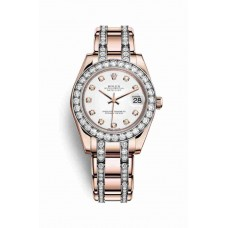 Réplica Rolex Pearlmaster 34 Everose oro 81285 Blanco Diamantes Dial Reloj