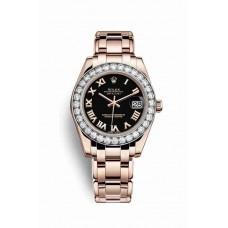 Réplica Rolex Pearlmaster 34 Everose oro 81285 Negro Dial Reloj
