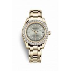 Réplica Rolex Pearlmaster 34 oro amarillo 81298 plata Dial Reloj