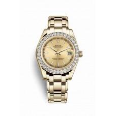 Réplica Rolex Pearlmaster 34 oro amarillo 81298 Champagne-colour Dial Reloj