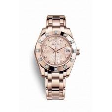 Réplica Rolex Pearlmaster 34 Everose oro 81315 Rosado Jubilee Diamantes Dial Reloj