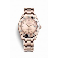 Réplica Rolex Pearlmaster 34 Everose oro 81315 Rosado Diamantes Dial Reloj