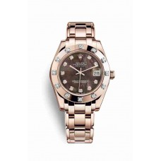 Réplica Rolex Pearlmaster 34 Everose oro 81315 Negro mother-of-pearl Diamantes Dial Reloj