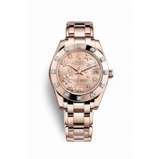 Réplica Rolex Pearlmaster 34 Everose oro 81315 Rosado raised floral motif Dial Reloj