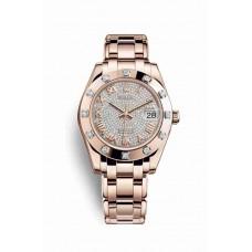 Réplica Rolex Pearlmaster 34 Everose oro 81315 Diamante-paved Dial Reloj