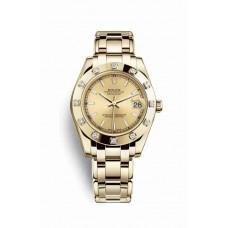 Réplica Rolex Pearlmaster 34 oro amarillo 81318 Champagne-colour Dial Reloj