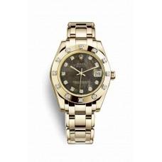 Réplica Rolex Pearlmaster 34 oro amarillo 81318 Negro mother-of-pearl Diamantes Dial Reloj