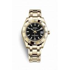 Réplica Rolex Pearlmaster 34 oro amarillo 81318 Negro Dial Reloj