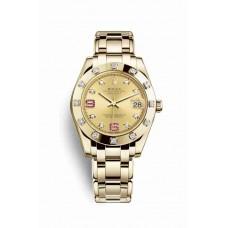 Réplica Rolex Pearlmaster 34 oro amarillo 81318 Champagne-colour Diamantes rubies Dial Reloj