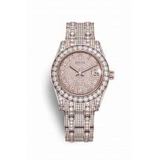 Réplica Rolex Pearlmaster 34 Everose oro lugs Diamantes 81405RBR Diamante-paved Dial Reloj